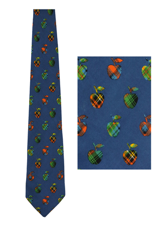 Blue Silk Tie with Tartan Apples!