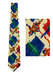 Krizia Cream Silk Tie with Green, Red & Blue Abstract Floral Pattern