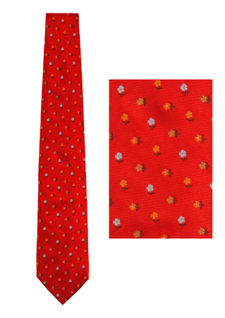 Les Copains Red Silk Tie with Intricate Blue & Orange Floral Print