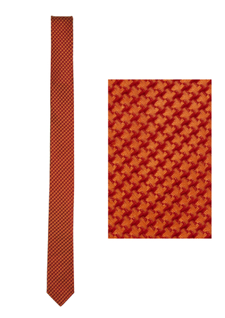 Romeo Gigli Skinny Tie with Tonic Red & Orange Dogtooth Check