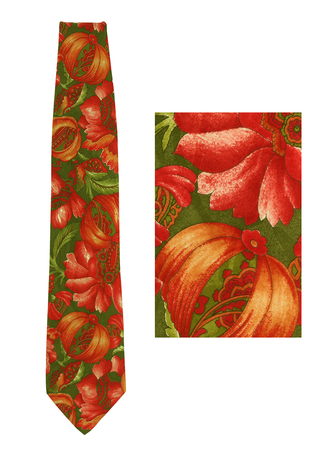 Silk Tie with Abstract Floral Print in Olive Green, Burnt Orange & Russet
