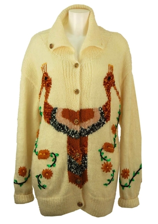 3/4 Length Cream Knit Cardigan with 'Two-Headed' Bird Design - M/L