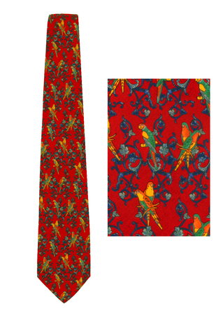 Red Silk Tie with Ornate Orange, Yellow & Blue Parrot Print