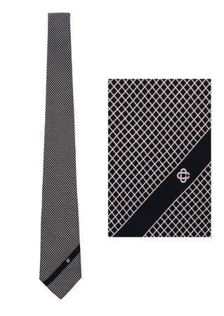 Navy Slim Silk Tie with Fine White Diamond Shaped Grid Pattern