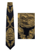Gianfranco Ferre Navy Silk Tie with Rococo Style Ink Drawing of Horse Drawn Carriage