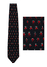 Moschino Dark Navy Silk Tie with Multi Red & Black Mini Men Pattern