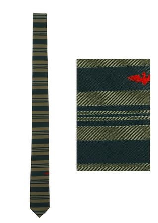 Skinny Blue and Grey Striped Tie with Red Eagle Motif