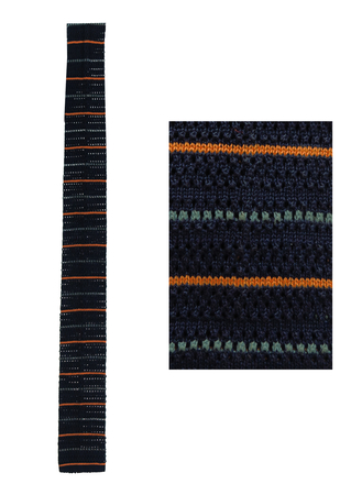 Cotton Knit Navy Blue Square End Tie with Grey & Orange Stripes