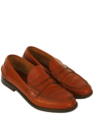 Tan Brown Leather Loafers with Stitch Detail - UK Size 9