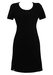 60's Style Short Sleeved Black Shift Dress - S/M
