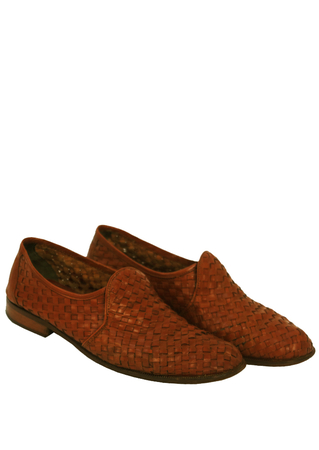 Tan Leather Woven Loafers - UK Size 8