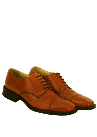 Tan Brown Cap Toe Derby Lace Up Shoes - UK Size 9.5