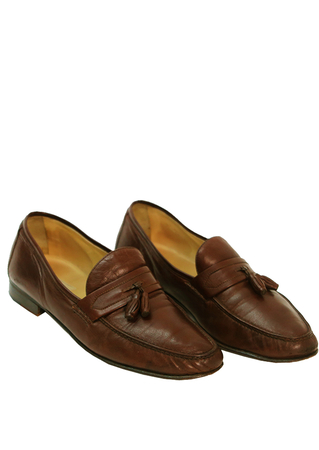 Moreschi Chestnut Brown Leather Loafers with Tassles - UK Size 9