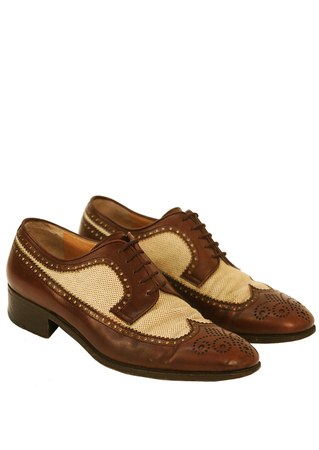 Mario Valentino Brown Leather & Check Canvas Derby Brogues - UK Size 8.5