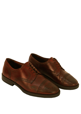 Cherry Brown Leather Derby Brogues - UK Size 6