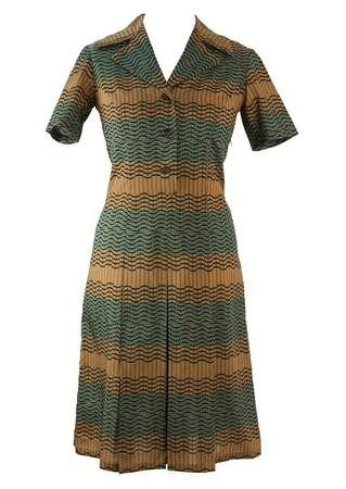 Vintage 60's Short Sleeve Patterned Dress in Camel & Blue - L