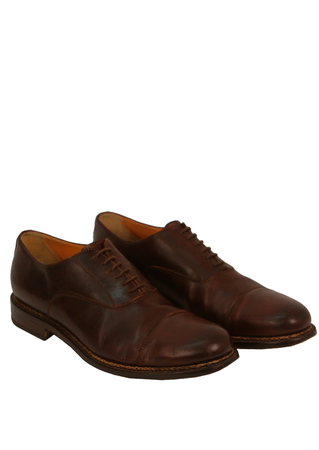 Dark Brown 'Flecs' Leather Oxford Shoes with a Cap Toe - UK Size 9.5