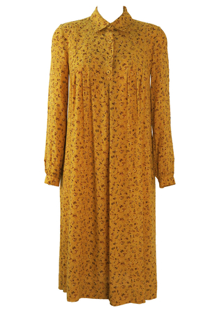 Ditsy Print Floral Smock Dress in Warm Yellow & Brown - M