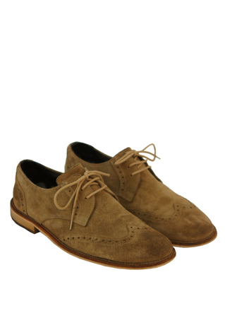 Sand Coloured Suede Derby Brogues - UK Size 6.5