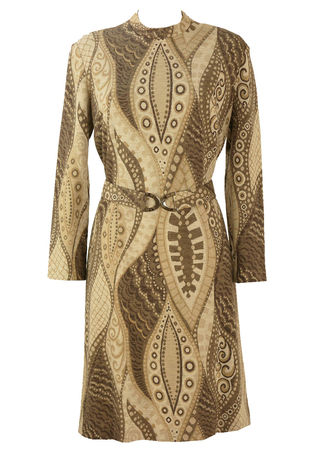 Vintage 60's Wool Jersey Dress with Brown and Cream Paisley Print - L