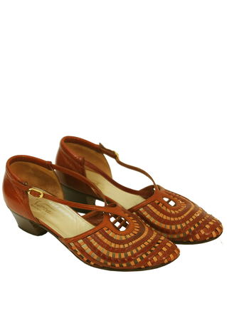 Tan & Chestnut Brown Lattice Patterned Leather Sandals - UK Size 5.5