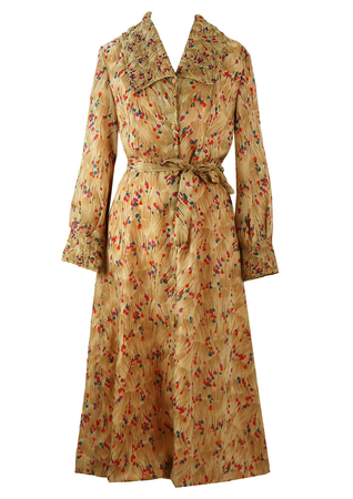 Vintage 70's Ditsy Print Long Sleeve Housecoat - M/L
