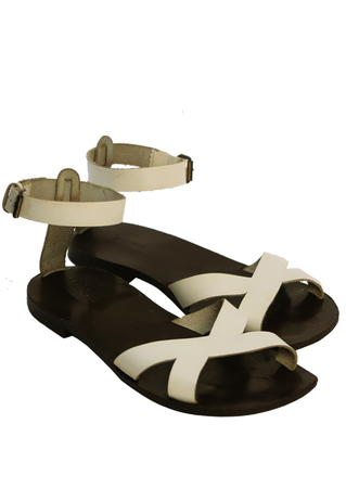 MaxMara White Leather Flat Sandals - UK Size 5