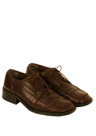 Brown Leather Lace Up Shoes with a Square End Toe - UK Size 8