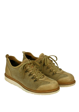 'Aigle' Sand Coloured Canvas & Leather Lace Up Shoes - UK Size 9.5