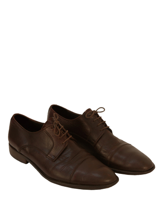 Dark Brown Leather Derby Lace Up Shoes with a Cap Toe - UK Size 8