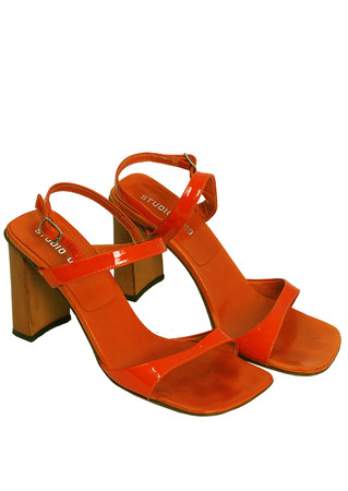 Patent Leather Orange Strappy High Heel Sandals - UK Size 5.5