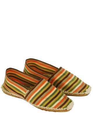 Superga Orange, Brown & Olive Green Striped Espadrilles - UK Size 6