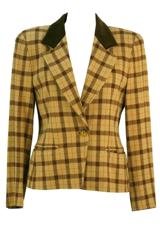 Marella Cream Check Wool Blend Jacket - M