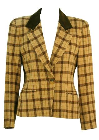 Marella Cream Check Wool Blend Jacket - M