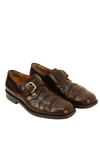 Salvatore Ferragamo Brown Leather Brogues with Buckle Fastening - UK Size 7