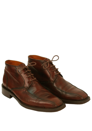 Brown Leather Ankle Derby Boots with Bicycle Toe - UK Size 7.5