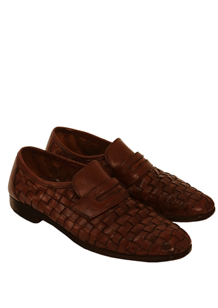 Rich Brown Leather Woven Slip On Shoes - UK Size 7.5