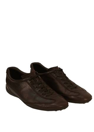 Tod's Brown Leather Lace Up Trainer Style Shoes - UK Size 9.5