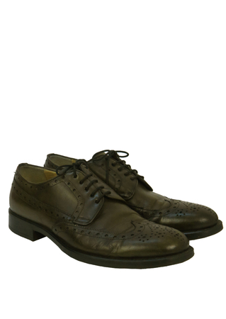 Olive Green Derby Leather Brogues - UK Size 8