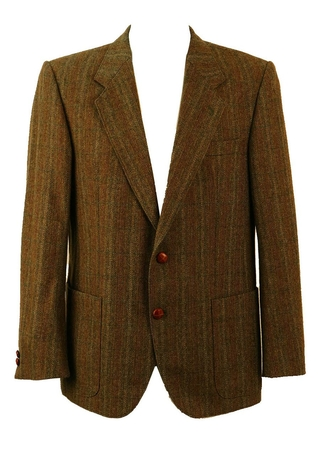 Olive Green, Grey & Russet Wool Check Tweed Jacket - L/XL