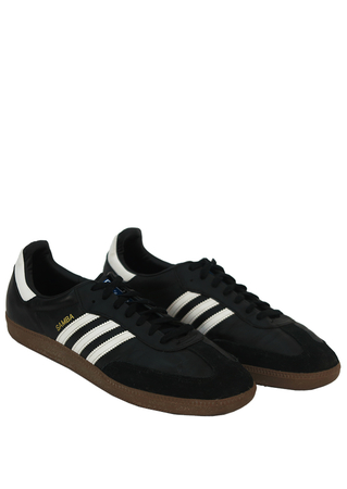Black Adidas Samba Trainers with White Stripes - UK Size 13