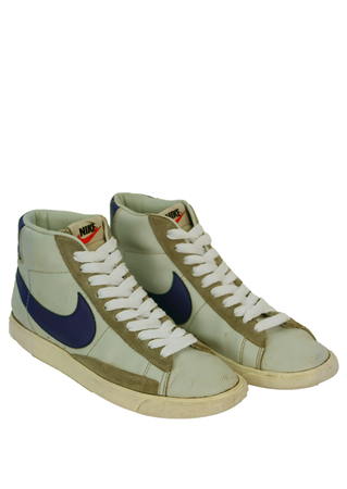 Nike Hi Tops in Light Grey with Mid Grey Suede Trim & Royal Blue Swoosh - UK Size 7