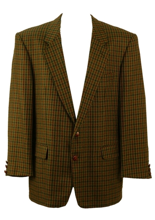 Green and Brown Check Tweed Jacket - XL/XXL