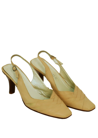 Cream Leather Slingback Shoes with Tiered Leather Detail - UK Size 5