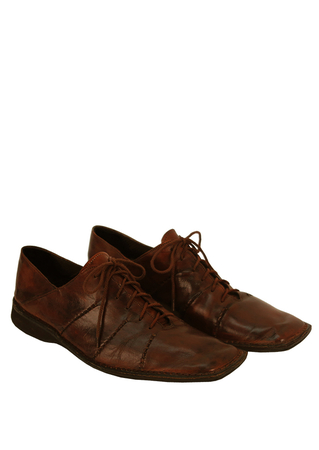 Brown Leather Lace Up Shoes with Side Seam Detail - UK Size 9.5