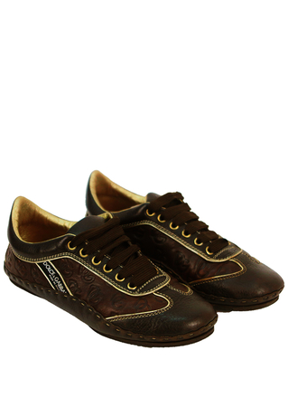 Dolce & Gabbana Brown and Gold Trainers - UK Size 5