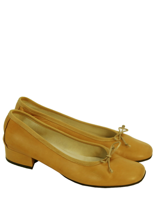 Tan Leather Ballerina Pumps - UK Size 5.5