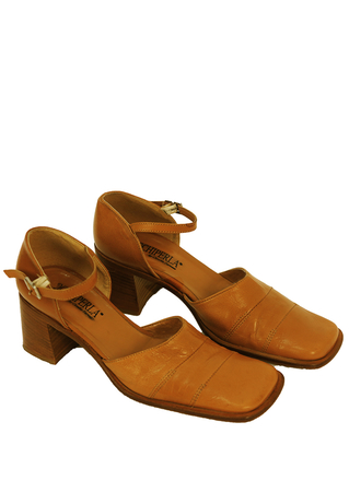 Tan Leather, Square Toe Shoes with Ankle Straps & Block Heel - UK Size 5