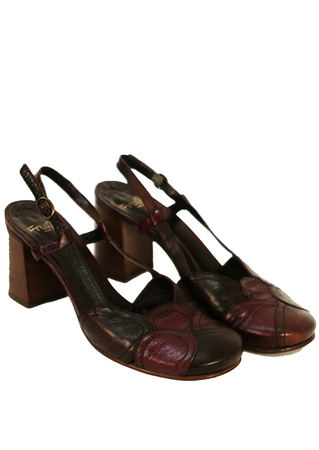 Purple & Brown Patchwork Style Slingback Leather Shoes - UK Size 6