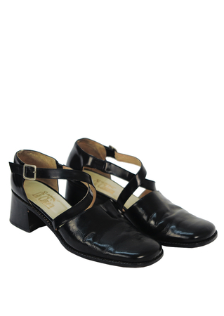 Black Leather Shoes with Cross Over Strap - UK Size 8